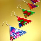 Dozen Colorful Triangle Disks Earrings   1DE400110