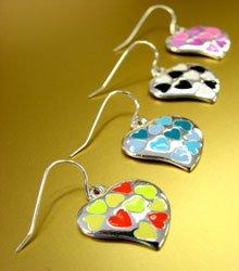 Dozen Color Enamel Heart Dangle Earrings  1DE400129