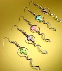 Dozen Color Cross Shell Dangle Earrings   1DE400877