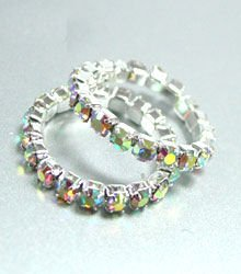 Dozen Clear AB Crystals Toe Rings 1TR35120