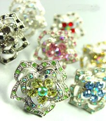 Dozen Color Crystals Rose Flower Rings   100FR18185