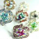 Dozen Color Crystals Fashion Ring   100FR18390