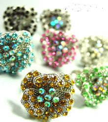 Dozen Color Crystals Rose Flower Rings   100FR18209