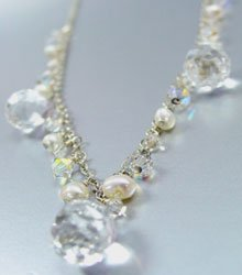 Clear Crystals Stones Pearls Necklace 1N2579083