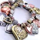 Multi Antique Heart Charms Bracelet
