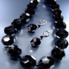 Black Glass Crystals Necklace Set