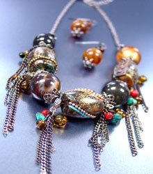 Black Patina Multi Beads Chains Neck Set