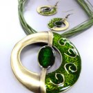 Green Epoxy Enamel Antique Necklace Set