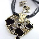 Black Epoxy Crystals Antique Necklace Set