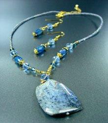 Blue Marble Stone Necklace Set