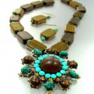 Natural Wood Turquoise Crystals Set