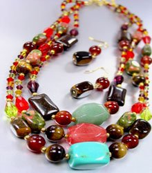 Natural Stone Beads Necklace Set