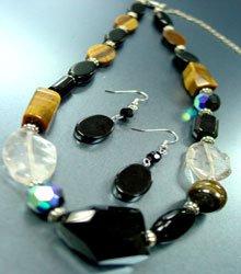 Natural Black Tigers Eye Necklace Set
