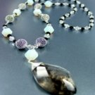 White Opal Stones Quartz Long Necklace