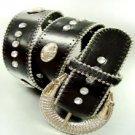 Black Crystal Studs Buckle Belt