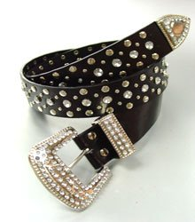 Black Crystals Studs Buckle Belt