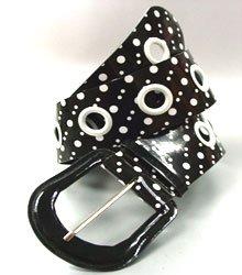Black White Polka Dots Patent Belt
