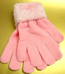 Pink Chenille Fashion Glove