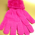 Hot Pink Chenille Fashion Glove