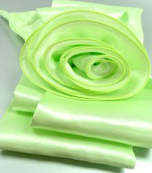 Green Satin Scarf Belt Flower Wrap