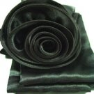 Black Satin Scarf Belt Flower Wrap