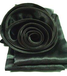Black Satin Scarf Belt Flower Wrap