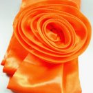 Orange Satin Scarf Belt Flower Wrap