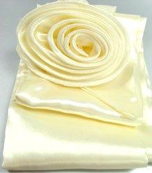 Beige Satin Scarf Belt Flower Brooch Wrap