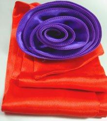 Red Satin Scarf Belt Purple Flower Wrap