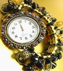 Black Stones Crystals Gold Watch