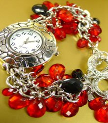 Red Lucite Crystals Cha Cha Watch