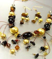 Black Murano Glass Beads Necklace Set