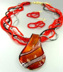 Red Murano Glass Beads Necklace Set 1N0808594
