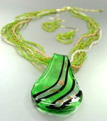 Green Murano Glass Beads Necklace Set  1N0808594