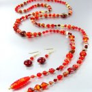 Red Murano Glass Beads Lariat Neck Set 1N2730235