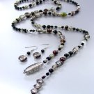 Black Murano Glass Beads Lariat Neck Set 1N2730235