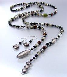Black Murano Glass Beads Lariat Neck Set 1N2730235