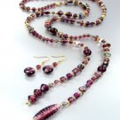 Purple Murano Glass Beads Lariat Neck Set 1N2730235