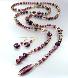 Purple Murano Glass Beads Lariat Neck Set 1N2730235