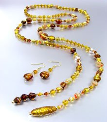 Brown Murano Glass Beads Lariat Neck Set 1N2730235