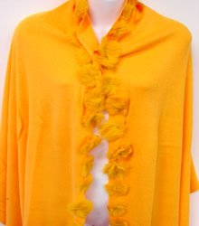 Orange Rabbit Fur Balls Shawl