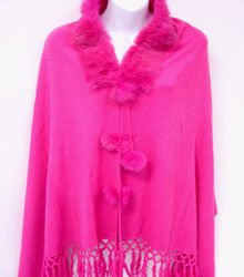 Hot Pink Rabbit Fur Collar Balls Shawl