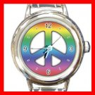 TIE DYE PEACE SIGN Italian Charm Wrist Watch 025