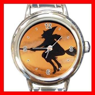 Halloween Witch on Broom Italian Charm Wrist Watch 051