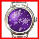 Christmas Purple Snowflakes Italian Charm Wrist Watch 060