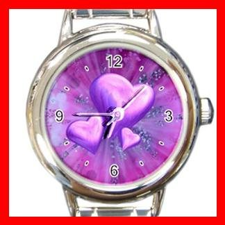 Purple Heart Love Italian Charm Wrist Watch 061
