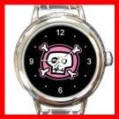 Pink Skull Hobby Italian Charm Wrist Watch 062