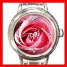 Pink Rose Flower Italian Charm Wrist Watch 075