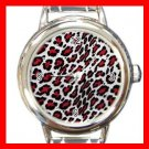 Red Leopard Pattern Italian Charm Wrist Watch 080