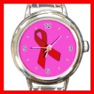 Red Ribbon Italian Charm Wrist Watch 087